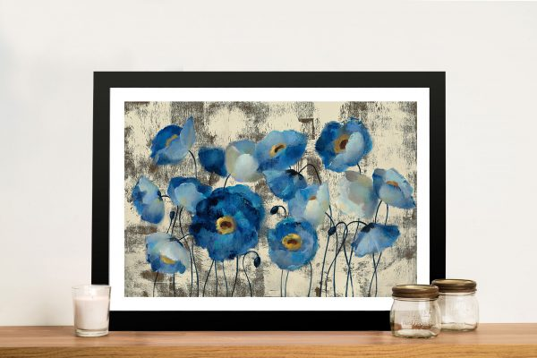 Aquamarine Floral Framed Wall Picture Art