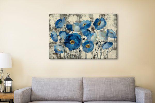 Buy Aquamarine Floral Canvas Wall Art Online