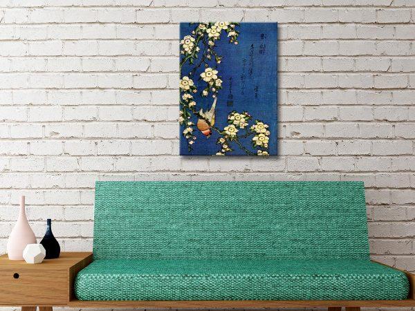 Hokusai Bullfinch and drooping Cherry Canvas Print Brisbane