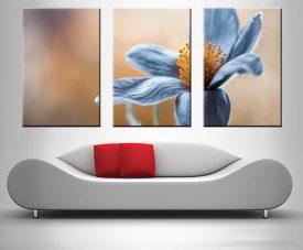 Blue Floral Triptych Wall Art Canvas Print Sydney Australia