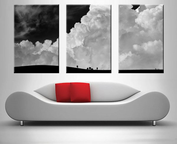 Nimbus Slopes Black & White Triptych Wall Art