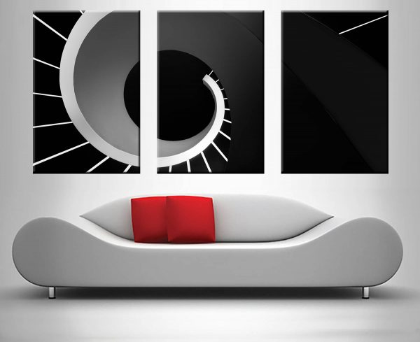 Abstract Stairwell Black & White Triptych Canvas Art