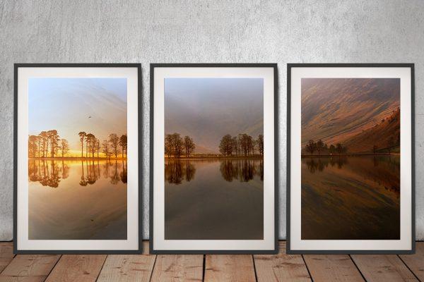Mountain Lake Reflections Triptych Wall Art