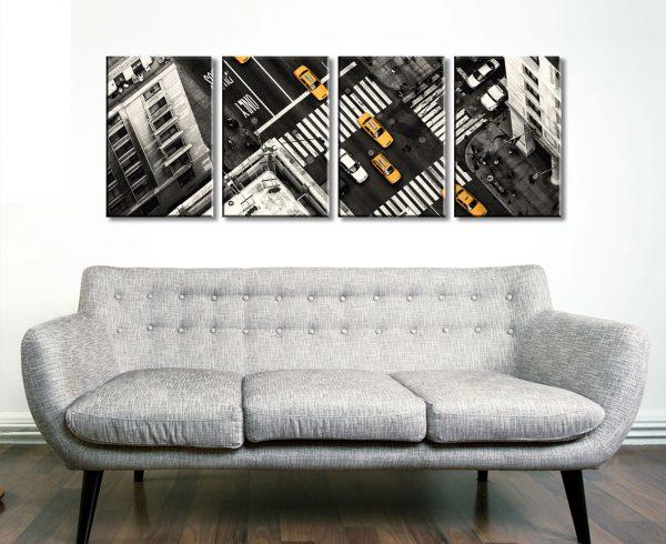 Yellow Flow 4 Panel Split Canvas Print Set of New York City