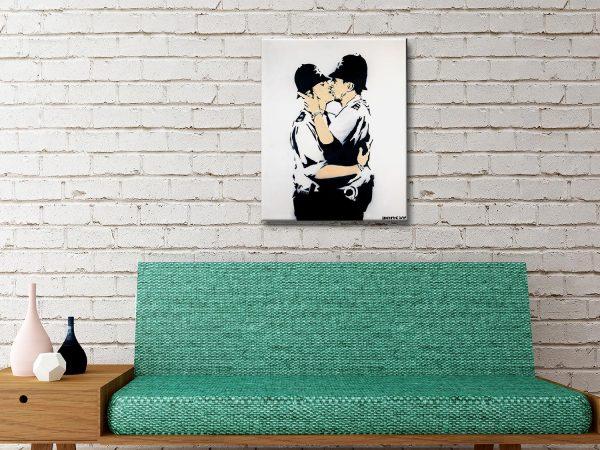 Kissing Policemen Banksy canvas wall art prints