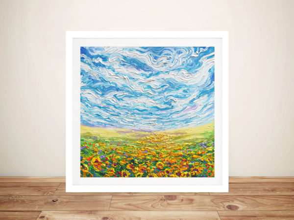 Big Sky Small Sunflowers Framed Wall Art