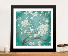 White Cherry Blossom on Blue Aged Framed Wall Art
