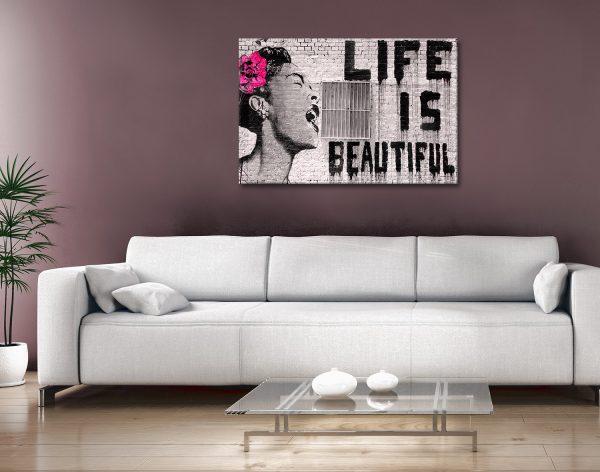 Life is Beautiful Banksy Canvas Artwork