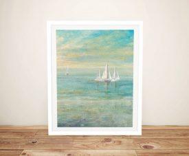 Sunrise Sailboats ll Watercolour Seascape Art