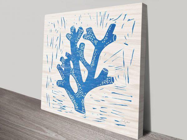 Sea Creature Blue Coral Artwork   Print