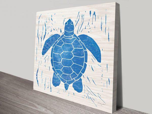 Sea Creature Blue Turtle Artwork | Print on Canvas
