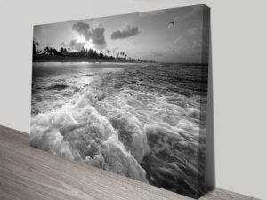 Sunset Churn Black and White Collection Landscape Canvas Prints