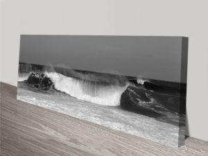 Waves Black and White Wall Artwork Print on Canvas