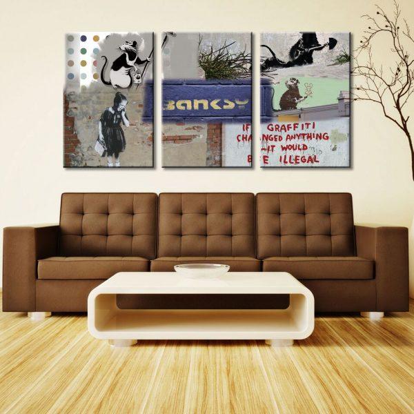 Banksy Rat Collage 3Panel