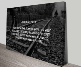 Bible Quotes Jeremy 29:11 on Canvas Print Art Gallery