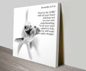Bible Quotes Proverbs 3:5-6 on Canvas Print Art Gallery