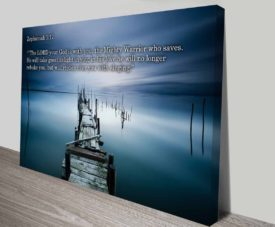 Bible Quotes Zephaniah 3:17 on Canvas Print Art Gallery