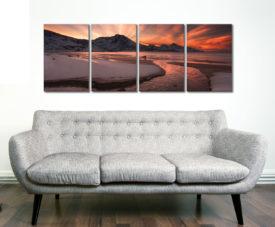 Dawn Estuary 4 Panel Sunrise Canvas Art
