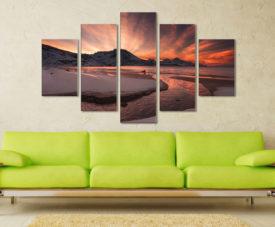 Dawn Estuary 5 Panel Split Art Set | Norway Sunrise Canvas Online Art Gallery