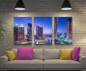 Dubai Marina Skyscrapers 3-Panel Art Set