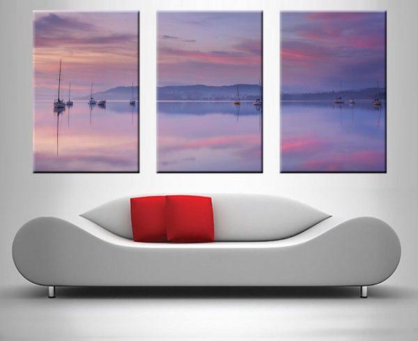 Pink Sky Reflection 3 Panel
