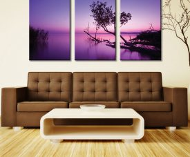 Purple Shores Sunset Triptych Wall Art