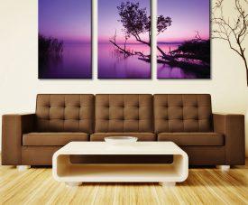 Purple Shores Sunset Triptych Wall Art