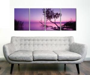 Purple Shores 4 Panel Sunset Photography Canvas Prints Sydney