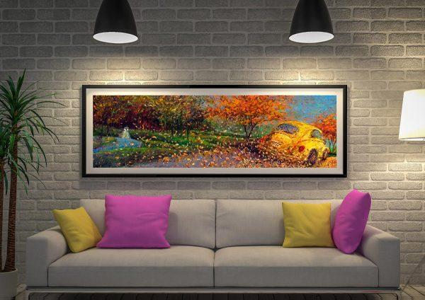 volkswagen yellow Framed Artwork