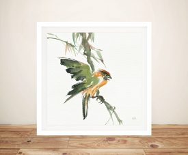 Formosan Firecrest Square Wall Art Canvas Print