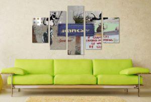 Banksy Rat Collage 5 Panel