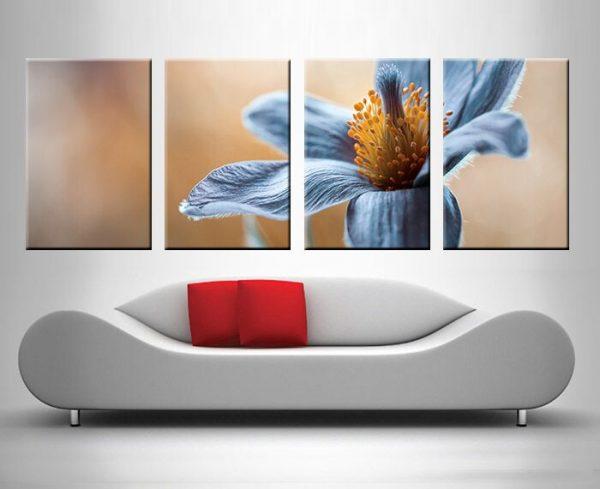 Blue Floral 4 Panel
