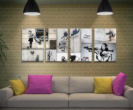 Banksy Mono Colour Collage 4-Panel Set
