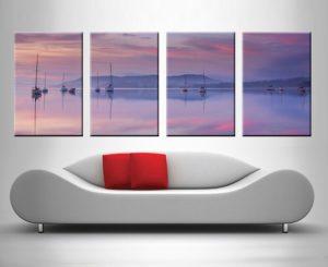 Pink Sky Reflection 4 Panel