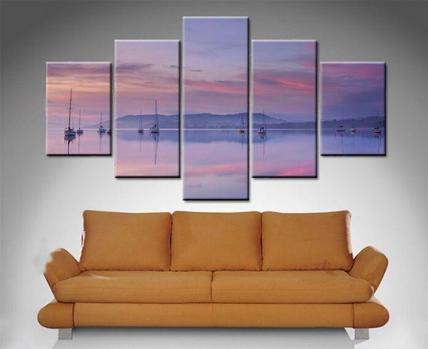Pink Sky Reflection 5 Panel