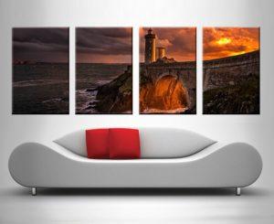 Sunset Lighthouse 4 Panel