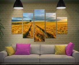 The Wheat Path 5-Piece Canvas Wall Art