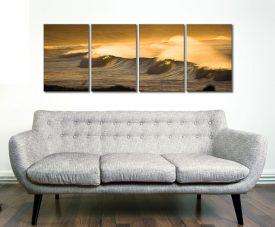 Yellow Ocean Sunset 4 Panel
