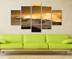 Yellow Ocean Sunset 5 Panel