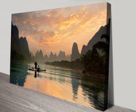 Golden Li River Framed Print