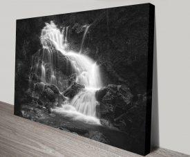 Waterfalls Black & White Canvas Art