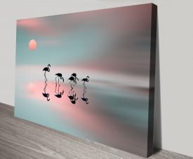 Family of Flamingos Canvas Artwork