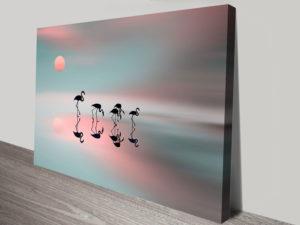 Family of Flamingos Canvas Artwork