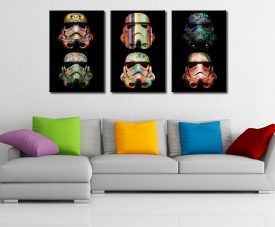 Stormtrooper Pop Art Triptych Canvas Discount Wall Art Cheap