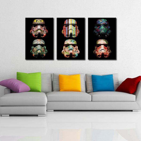 Stormtrooper Pop Art Triptych Canvas Discount Wall Art Cheap