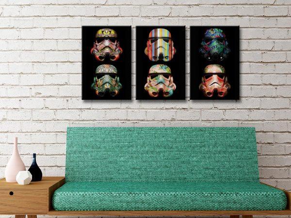 Stormtrooper Pop Art Triptych Canvas Discount Wall Art