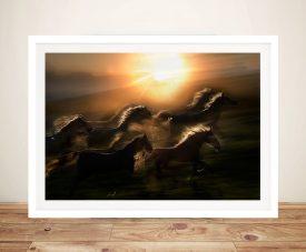 Galloping Horses Sunset Art Photo Prints Australia