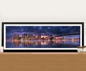 Brooklyn Bridge New York City Panoramic Photo Framed Wall Art