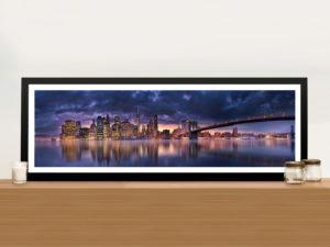 Brooklyn Bridge New York City Panoramic Photo Framed Wall Art