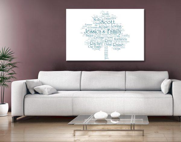 Personalised Family Tree Word Cloud Artwork Australia